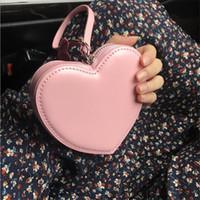 carteras rosas corazones al por mayor-Versión coreana Monedero rosa Pequeño amor fresco en forma de corazón Mini billetera Mujeres Organizador de efectivo Bolso de embrague de moda Estudiante lindo