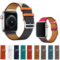 deri halka saat kayışı toptan satış-Apple Watch Band Için deri Döngü Band 42mm Serisi 1 2 3 4 iwatch için 44mm kayış 38mm bilezik Değiştirme 40mm