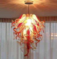 Wholesale red amber pendant for sale - Group buy Hallway Hand Blown Glass Chandeliers Lights Italian Retro Ceiling Lights Red and Amber Colored Blown Glass Chandeliers Pendant Lights