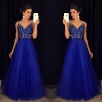Wholesale vestidos de fiesta resale online - Royal Blue Beaded Prom Dresses Long vestidos de fiesta largos elegantes de gala V Neck A Line Formal Floor Length Evening Party Gowns