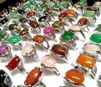 ingrosso signore anelli pietre naturali-50pcs Top Mix anelli colorati PIETRA NATURALE delle signore delle donne di cristallo di fascino elegante monili di modo dell'anello strass Anello di natale