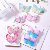 clips de mariposa de pelo lindo al por mayor-2pcs / set Girls Butterfly Hair Clip Colorful Dream 3D Butterfly Barrettes Kids Bow Tocado Niños Cute Designer Hair Clips HHA643