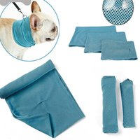 Wholesale large bandana scarves resale online - Dog Ice Cooling Bandana Pet Cat Scarf Summer Breathable Cooling Towel Wrap Blue Bows Accessories In Retail Bag Pack XD20479