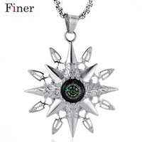 boussoles cool achat en gros de-2019 Fiber New Stainless Steel Compass Pendant Necklace Fashion Pendant Long Chain Necklace Male Punk Rock Cool Accessory