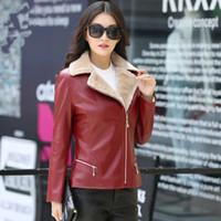 Wholesale womens faux pu leather jacket resale online - Plus Size XL XL Pu Leather Jacket Women Short Faux Fur Coat Black Red Womens Autumn Winter Moto Biker Jacket Warm Fleece Lined