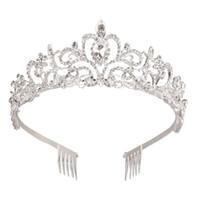 сорочки для девочек тиары оптовых-Серебряный Кристалл тиара Корона оголовье Принцесса элегантный корона с гребнями для женщин Девушки свадебные Пром день рождения