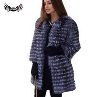 настоящий меховой мех оптовых-BFFUR Women's Winter Real  Fur Coat 2018 NEW Ladies Thick Warm Medium Long Female Fur Jacket Silver  Coat Snowsuit