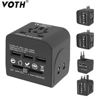 Wholesale black uk adapter for sale – best QC World Travel Adapter All In One International Travel Charger USB Ports Universal AC Outlet Adapter for US EU AU UK