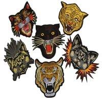 zakka tiere großhandel-1 Stück Patches bestickt Zakka Tiger Eisen zum Aufnähen Zakka Applikationen Tierkopf Zubehör zum Nähen