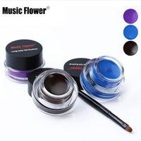 ingrosso marchio cosmetico fiore di musica-Musica Fiore Marca 2 pz / set Nero Impermeabile Eyeliner Gel Makeup Cosmetic Gel Eyeliner con pennello 24 ore di lunga durata