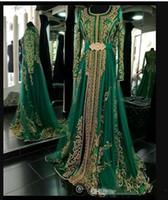 langarm-abendkleid smaragd großhandel-2019 Emerald Green Muslim Abendkleider mit langen Ärmeln Abaya Designs Dubai türkischen Abendgesellschaft Kleider Günstige marokkanischen Kaftan
