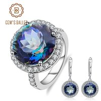 Wholesale mystic jewelry resale online - GEM S BALLET ct Round Natural Blueish Mystic Quartz Jewelry Set Sterling Silver Earrings Ring Set For Women Trendy Fine
