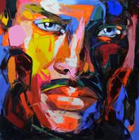 modern boyalı portreler toptan satış-Francoise Nielly Palet Bıçağı Gösterim Ev Sanat Eserleri Modern Portre El Yapımı Yağlıboya Tuval Üzerine Içbükey ve Dışbükey Doku Face056