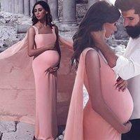 ingrosso abiti da sera di maternità satinata-2019 Plus Size rosa Satin Prom Dresses per maternità con Wrap Square Neck Sweep treno Abiti da sera Novy Gowns per arabo Dubai