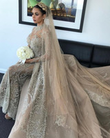 Wholesale muslim wedding dress collar resale online - Luxury Champagne Crystal Muslim Mermaid Wedding Dresses With Detachable Train Vintage Long Sleeves High Neck Saudi Arabic Dudai Bridal Gown