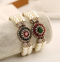 pulseira imitação china venda por atacado-Jóias turca Pulseira Vintage Femme Resina Verde Vermelho Rodada De Cristal Imitação de Pérolas Beads Strand Pulseiras Bangles Pulsera