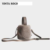 falso coreia da pele venda por atacado-Faux Fur Inverno Bolsa Para Mulheres senhoras fuzzy Handbag Fur Bucket Bag Shoulder Crossbody Coréia moda pequena 2020