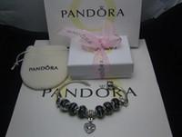 pandora charms pulsera gratis al por mayor-Envío gratis Charm Bracelet Silver Pandora Pulseras Para Mujeres Royal Crown Bracelet Purple Crystal Beads Diy Joyería con logotipo personalizado