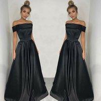 robe longue plissée noire achat en gros de-2019 New Black Off épaule robes de soirée rez-de-chaussée longues plis Backless occasion spéciale robes de soirée robes de soirée robes de fiesta