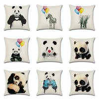 Wholesale zebra bedding online - Panda Elephant Pillow Case Cute Bearcat Linen Throw pillowcase Offic Waist Pillow cover Zebra Sofa Bedding Cushion Cover