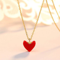 Wholesale love coral resale online - Red love coral necklace s925 pure silver plating k gold simple clavicle chain