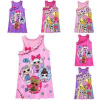 yelek giymek toptan satış-Kızlar Yaz Sürpriz Pijama Bebek Elbise Çocuklar Pamuk Yelek Elbise Kolsuz Pijama Çocuk Karikatür Yay Gece Etekler 6 Renkler 2019 Yeni