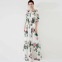 Women's Runway Dresses Slash Neckline Short Sleeves Floral Printed Elastric Waist Elegant Long Designer Dress