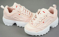 siyah kız beyaz çorap toptan satış-Original FILA Disruptors II 2 2019 Erkek Kız için çorap koşu ayakkabıları bir adım beyaz siyah Ray 2 bozucular Çocuk spor sneaker Bebek Çocuk ayakkabı çift sneakers