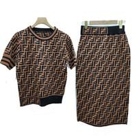 tricot élastique achat en gros de-Designer T-shirts et jupes pour femmes Marque FF Robe deux pièces T-shirt + Jupe en maille élastique Tricoté Costume de luxe en deux pièces