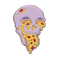 erstaunliche brosche großhandel-Illustrationskunstausweis badass Stift-Feinschmeckergeschenk der Pizzaschädelbrosche erstaunliches