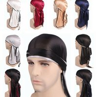 Wholesale wig skull cap for sale - Group buy Silky durag hat hip hop headwrap Bandanas Bandana Turban Wigs headscarf cap Silky Headwear Headband Hat Hair Accessories KKA6580