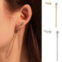 Wholesale stud chain link earrings resale online - Long Link Chain Tassel Earring Crystal Star Stud Earrings for Women Gold Silver Color Asymmetry Ear Studs Pendientes Jewelry