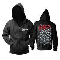 zipper hoodies skulls venda por atacado-18 projetos Slayer Algodão macio Rock hoodies casaco shell punk heavy metal zíper camisola fleece sudadera Crânio treino