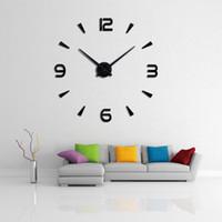 nouvelle montre de stickers muraux achat en gros de-2019 37 pouces Nouvelle horloge murale salon quartz horloges diy design moderne montre horloge murale acrylique miroir 3d stickers muraux