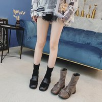 Wholesale decorative boots resale online - 2019 autumn new women s boots fashion simple solid color suede comfortable leather stitching decorative casual boots