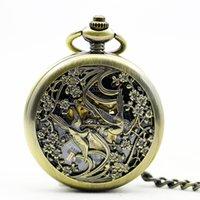 relojes de bolsillo de aves antiguos al por mayor-Nueva antigüedad mecánica cuerda de la flor de dos aves esqueleto reloj de bolsillo número romano collar cadena regalo