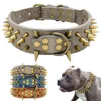 Wholesale spikes for dog collars for sale - Group buy Dog Collar for Large Dogs Cool Spikes Studded Dogs Collar Leather Pet Collar for German Shepherd Mastiff Rottweiler Bulldog