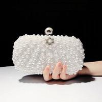 perla de cuentas rhinestone embrague al por mayor-Ventas calientes 2019 Moda Mujer Bolso Diamantes de imitación Perlas llenas Cuentas Boda nupcial Embrague Bolso de noche