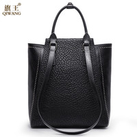 Wholesale china handbag brand resale online - Large Rivet Women Bag China Brand Handbag with Long Top Handles Strap Handbag Real Leather Women s Bag