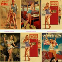 Wholesale wall poster for girls for sale - Group buy tableau mural Classic Vintage World War II Sexy Pin Up Girl Paper Poster Wall Painting For Living Room Home coffee bar