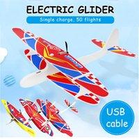 juguetes modelo de vuelo al por mayor-2019 DIY Biplano mano de la espuma USB Throw Plano del vuelo eléctrico recargable Aviones Modelo Educativo juguetes para los niños