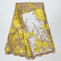 net material blume großhandel-Graceful blumenstickerei Französisch tüll material heißer verkauf net spitze stoff für dame kleid LWN14 (5 yards / lot)