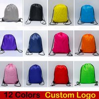 Wholesale wholesale camp clothing online - 12 Style Candy Color Drawstring Bag D Polyester Cloth Sport Gym Dance Durable Backpack Kids Clothes Shoes Bags Custom Logo Free DHL M34F