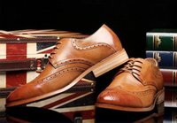ingrosso marrone scarpe formali nuove-2019 New Luxury mens classico brogue oxford scarpe da sera in pelle marrone punta a punta lace up scarpe da uomo scarpe da festa scarpe da sposa S69