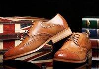zapatos formales marrones nuevos al por mayor-2019 Nuevo lujo clásico para hombre brogue oxfords zapatos de vestir de cuero marrón puntiagudo dedo del pie del cordón hasta el calzado formal formal de la boda zapatos S69