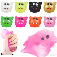 Wholesale splat balls venting for sale - Group buy Newest Popular Anti stress Decompression Splat Water Ball Vent Toy colorful pig head water ball squeezing toys Funny kids Splat toys DHL