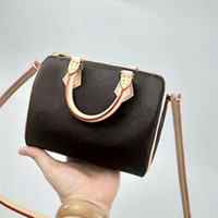 Wholesale new boston handbag genuine leather for sale - Group buy 2019 new Canvas genuine leather lady messenger bag phone purse fashion satchel nano pillow shoulder bag handbag