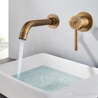 duvar muslukları banyo toptan satış-Modern Pirinç Duvar Havzası Mikser Dokunun Banyo Lavabo Bataryası Döner Borulu Banyo Dokunun Tek Kolu Beyaz Lavabo Lavabo Bataryası Vinç