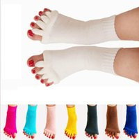 Wholesale toes alignment socks resale online - Foot Alignment Sock Massage Open Toe Separator Five Yoga GYM Sport Health Care Sports socks KKA6411