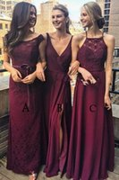 Wholesale occasion elastic spaghetti special dresses for sale - Group buy 2019 Sexy A Line Burgundy Long Bridesmaids Dresses Formal Custom Vestidos De Honor Of Maid Cheap Special Occasion Party Gowns Sleeveless